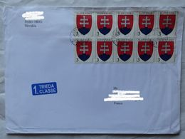Cover Brief  Lettre  20.. Pour La France 10 Timbres - Slovakia