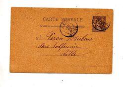 Carte Postale 10 C Sage Cachet Anzin - Enteros Postales