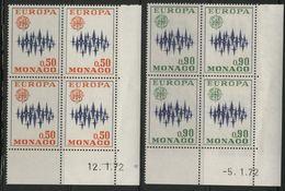 """MONACO N° 883 + 884 Cote 20 € 2 Blocs De 4 Neufs ** (MNH) Avec Coin Daté Du 12/1/72 Et 5/1/72 """"EUROPA"""" TB/VG - Monaco"""
