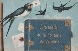 CPA 84 FONTAINE DE VAUCLUSE A SYSTEME SOUVENIR OISEAUX LIVRE - France