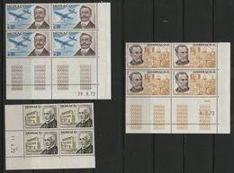 MONACO N° 910 + 911 + 913 Cote 9.6 € 3 Blocs De 4 Neufs ** (MNH) Avec Coin Daté Du 29/8/72, 11/4/72 Et 8/2/72. TB/VG - Monaco