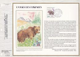 CEF Feuillet  N° 1056 Soie  -  L'OURS DES PYRENEES  -  St-LARY SOULAN   14 Sept. 1991 - Documentos Del Correo