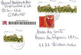 TIMBRES - STAMPS - LETTRE RECOMMANDÉ - PORTUGAL - 2005 - MASQUES DU PORTUGAL ET FLORE ET FAUNE - TIMBRES OBLITÉRÉS - 1910-... République
