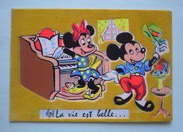 Carte Feutrine WALT-DISNEY PRODUCTIONS  - MICKEY - MINNIE - Disneyworld
