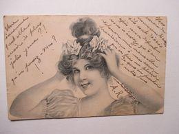 JEUNE  FEMME    FLEURS   DANS  LES  CHEVEUX      ....         TTB - 1900-1949