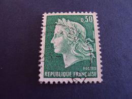 "1967-70 MARIANNE CHEFFER, Timbre Oblitéré N° 1563 A "" 0.30  Vert ""  Net  0.30   ""   Sarzeau,56 ""  Photo   3 - 1967-70 Maríanne De Cheffer"