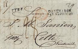 1843- Letter From Copenhagen To Cette ( South Of France )  T T R 4.  + DANEMARCK / PAR HAMBOURG - Marcofilia (sobres)