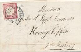 """Allemagne N°16 Obl """" SCHLETTSATDT 30/7/78 """" Sur Lettre > Koenigshoffen - Cachet Fer à Cheval - Marcophilie (Lettres)"""