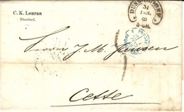 1869- Letter From DUSSELDORF To Cette ( South Of France ) Rating 5 D. Tampon -entrée 3 PRUSSE 3 ERQUELINES Bleu - Marcofilia (sobres)