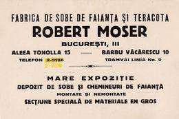BUCURESTI : PUBLICITÉ / ADVERTISING CARD - FABRICA DE SOBE DE FAIANTA Si TERACOTA : ROBERT MOSER ~ 1937 - RRR ! (ae981) - Roumanie