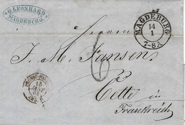 1864- Letter From MAGDEBURG To Cette ( South Of France ) Entrance Prusse-Forbach / AMB. B -rating 6 D - Marcofilia (sobres)