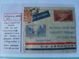 N° 262A Chaudron Foncé Sur Fragment Env Aéropostale .Dest Argentine -Obl . PARIS 29/11/30 - Cachet Arrivée Au Dos - France