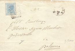 1870 Per Palermo Con VEII Da 20c  - Q - Marcofilía
