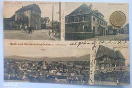 Niederschopfheim B.Offenburg, Gasthaus, Villa, Rathaus, Bahnpost, 1914 - Offenburg