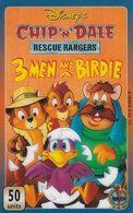 """UK - Disney""""s/3 Men And A Birdie, Justice Ducks Unite(UT 0320), Unitel Prepaid Card 50 Units, Used - Disney"""