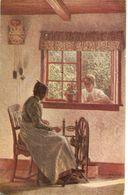"""""""Alfr. Broge. Lady Working. Die Alte Am Spinnrad"""" Fine Arte, Vintage German PC - Femmes"""