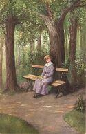 """W. Kolm. Lady. Waiting In Park. Frivartung"" Fine Arte, Vintage German PC - Femmes"
