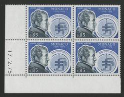 """MONACO N° 1041 Cote 4.4 € Bloc De 4 Neuf ** (MNH) Avec Coin Daté Du 17/2/75 """"ANDRE AMPERE"""" TB/VG - Monaco"""