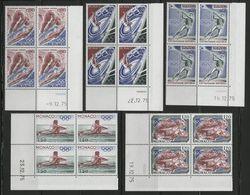 MONACO N° 1057 à 1061 Cote 19 € 5 Blocs De 4 Neufs ** (MNH) Avec Coin Daté  (voir Description). J.O. MONTREAL 1976 TB/VG - Monaco