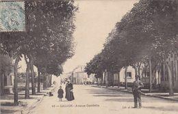 17. SAUJON. CPA. AVENUE GAMBETTA. ANIMATION. ANNEE 1905 - Saujon