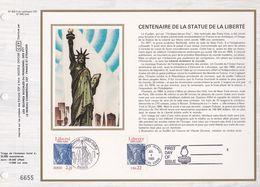 CEF FEUILLET N° 824 Soie  - CENTENAIRE DE LA STATUE DE LA LIBERTE  - PARIS Et USA   4 Juil. 1986 - Documents De La Poste