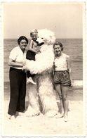 Carte Photo Originale Déguisement D'Ours Blanc Polaire & Eisbär à La Plage Avec Ses 3 Jeunes Femmes Vers 1940 - Anonieme Personen