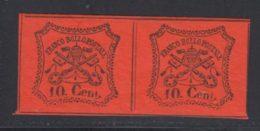 Etats Pontificaux 1867 Yvert 15 * TB Charniere(s) Paire - Etats Pontificaux