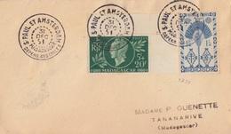 N° 271, 288 (Madagascar) Obl. St Paul Et Amsterdam 31 DEC 51, Courrier Du Vercors (transbordé Sur Le Sapmer) - Terres Australes Et Antarctiques Françaises (TAAF)