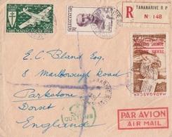 PA 1 (Zéphir), N° 310, PA 60 (Madagascar) Obl. Tananarive Le 9/1/51 Sur Lettre Rec. + Cachet Customs Et Courrier - Terres Australes Et Antarctiques Françaises (TAAF)