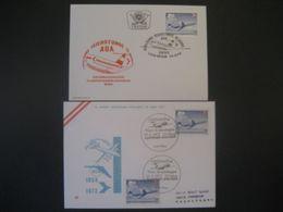 Österreich 1973- 2 Belege 15 Jahre AUA, Jubiläumsflug Wien - Kopenhagen - Airmail