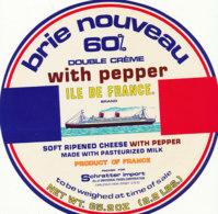 G F 101  / ETIQUETTE DE FROMAGE  - BRIE NOUVEAU  ILE DE FRANCE - Käse