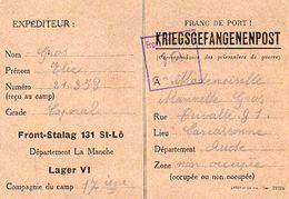 C4 1940 PRISONNIER DE GUERRE FRANCAIS   Carte Spéciale Front Stalag 131 De ST LO - Marcophilie (Lettres)
