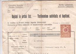 5802  AK-   SHS  1919  DOKUMENT - Slowenien