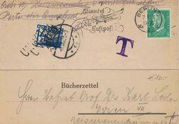 Berlin C 1931 - Hindenburg - Bücherzettel Nach Wien - Nachgebühr Taxe - Germania