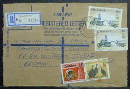 Zimbabwe - Registered Cover To England 1993 Motorbike Fauna Bird Musical Instrument Causeway - Moto
