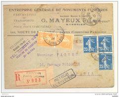 Enveloppe Recommandée - Oblitération PANTIN - 1924 - Type Semeuse Y&T 140 Et 158 - Marque Postale Au Verso - 1921-1960: Periodo Moderno