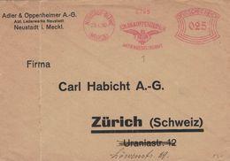 Francotyp A - Neustadt Glewe Mecklenburg 1930 - Adler & Oppenheimer AG - Brief Nach Zürich - 6265 - Deutschland