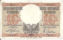 ALBANIE 10 LEK ND1940 VF P 11 - Albania