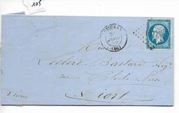 Lettre Napoléon 20 C Losange Petits Chiffres 1806 Lusignan Vers Niort 1859 - 1849-1876: Période Classique