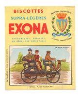 Buvard Biscottes Supra-Légères Exona - La Belle époque Victoria 4 Places Peugeot 1892 - Format : 19x16cm - Biscottes