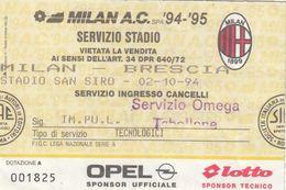 BIGLIETTO PARTITA DI CALCIO- MILAN-BRESCIA -CAMPIONATO 1994-1995 ( SENZA SCRITTE) - Voetbal