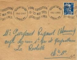"""1955- Env. Affr. 15 F Gandon Oblit. Krag """"  / FOIRE-EXPOSITION / 15-22 MAI 1955 /ROCHEFORT-s/MER """" - Storia Postale"""