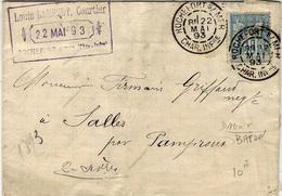 1893 - Lettre  Affr. 15 C Sage Oblit DAGUIN  Bâton  ROCHEFORT S./ MER  / CHAR. INFre - 1877-1920: Semi-Moderne
