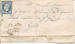 LANDES (39) LAC De LA BASTIDE D'ARMAGNAC (PERLE) OBLI  PC 280 Sur NAP Pour AUCH - 1849-1876: Période Classique