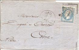 SEINE (60) LAC  PARIS OBLI ETOILE 1  ( PLACE DE LA BOURSE ) Pour COSNE  (NIEVRE) + AMBULANT - 1849-1876: Période Classique
