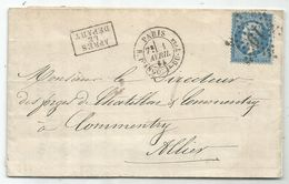 N° 22 ETOILE 19 PARIS R. D'ANGOULe-DU-Tple 1 AVRIL 1865 LETTRE + APRES LE DEPART POUR ALLIER BELLE FRAPPE - 1849-1876: Klassik