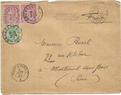 AMBULANT CALAIS A PARIS 1° B 4 JUIN 1887 + LILLE A CALAIS A LETTRE DE BELGIQUE 10CX2+5C BRUXELLES POUR MONTREUIL SEINE - Poste Ferroviaire