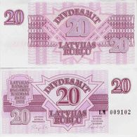 Latvia 1992 - 20 Rublu - Pick 39 UNC - Latvia