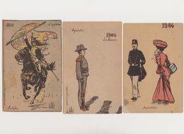 3 Cpa Fantaisie  Autrefois 1804 -l'équitation / Aujourdhui 1904 -les Honneurs - Femme Et Militaire - Vallet, L.