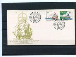 GRANDS NAVIGATEURS - DECOUVERTE AMERIQUE MAGELLAN ORELLANA - FDC BRESIL 1991 - Explorers